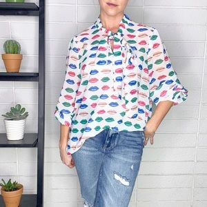 Shein Multicolor Mouth Button Down Bow Shirt